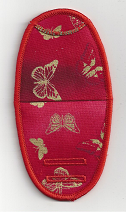 Large and small butterflies on red